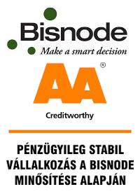 Bisnode 'AA' tanúsítványt kaptunk, mellyel Magyarországon csupán a cégek 1,75 %-a rendelkezik